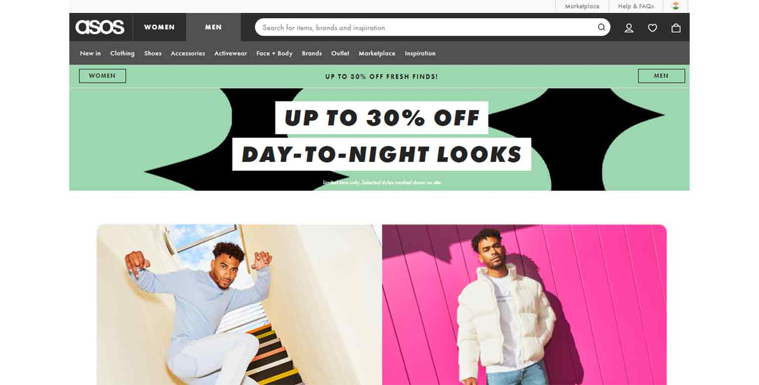Here is an example from fashion brand Asos that displays an offer above the fold.