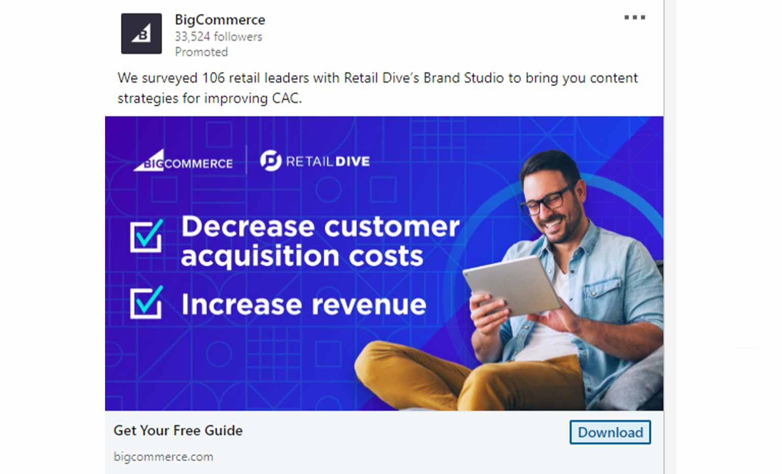 A promoted ad on LinkedIn run by the e-commerce site, BigCommerce.