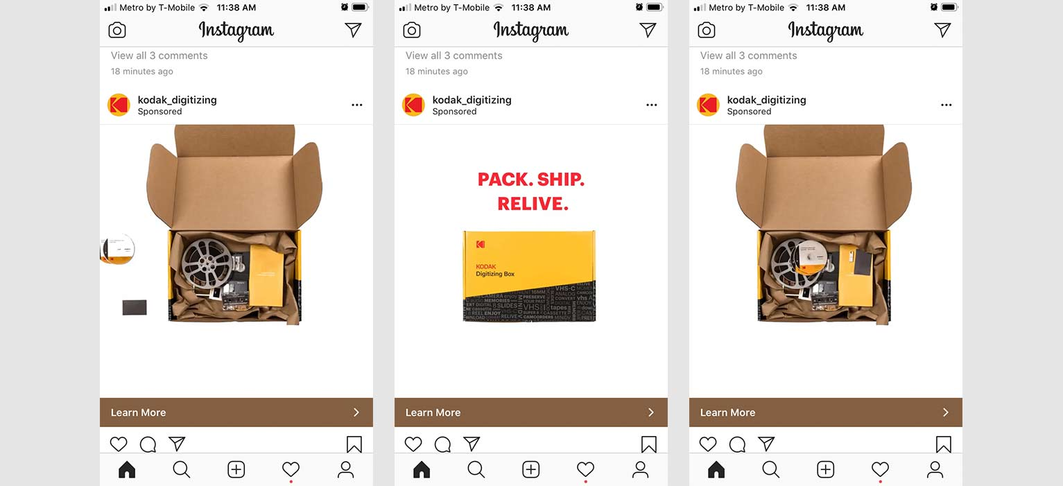 Paid ad on Instagram featuring Kodak's Digitizing shipping box with film reels and camcorder packed for conversion to digital.