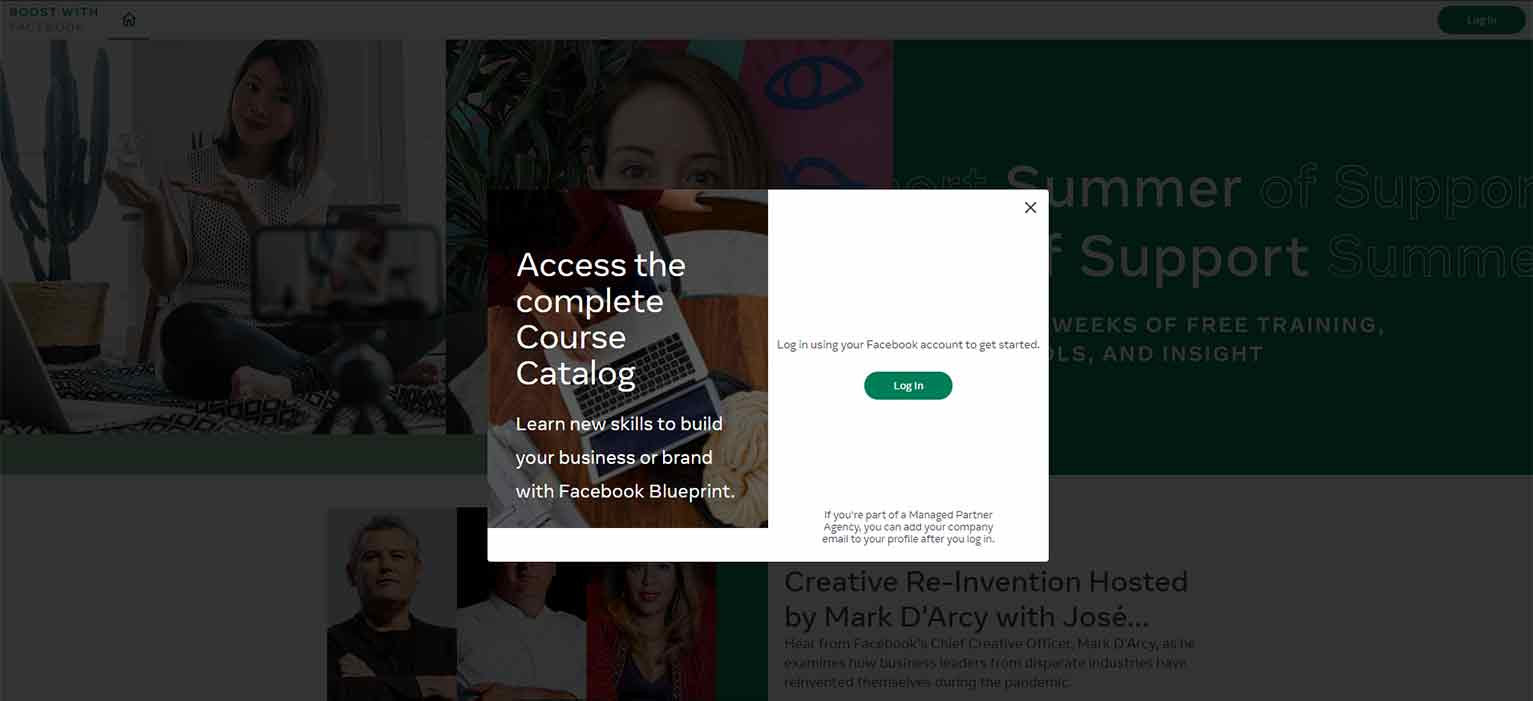 Facebook's paid ad on the LinkedIn login page to access the course catalog for its Summer of Support program.