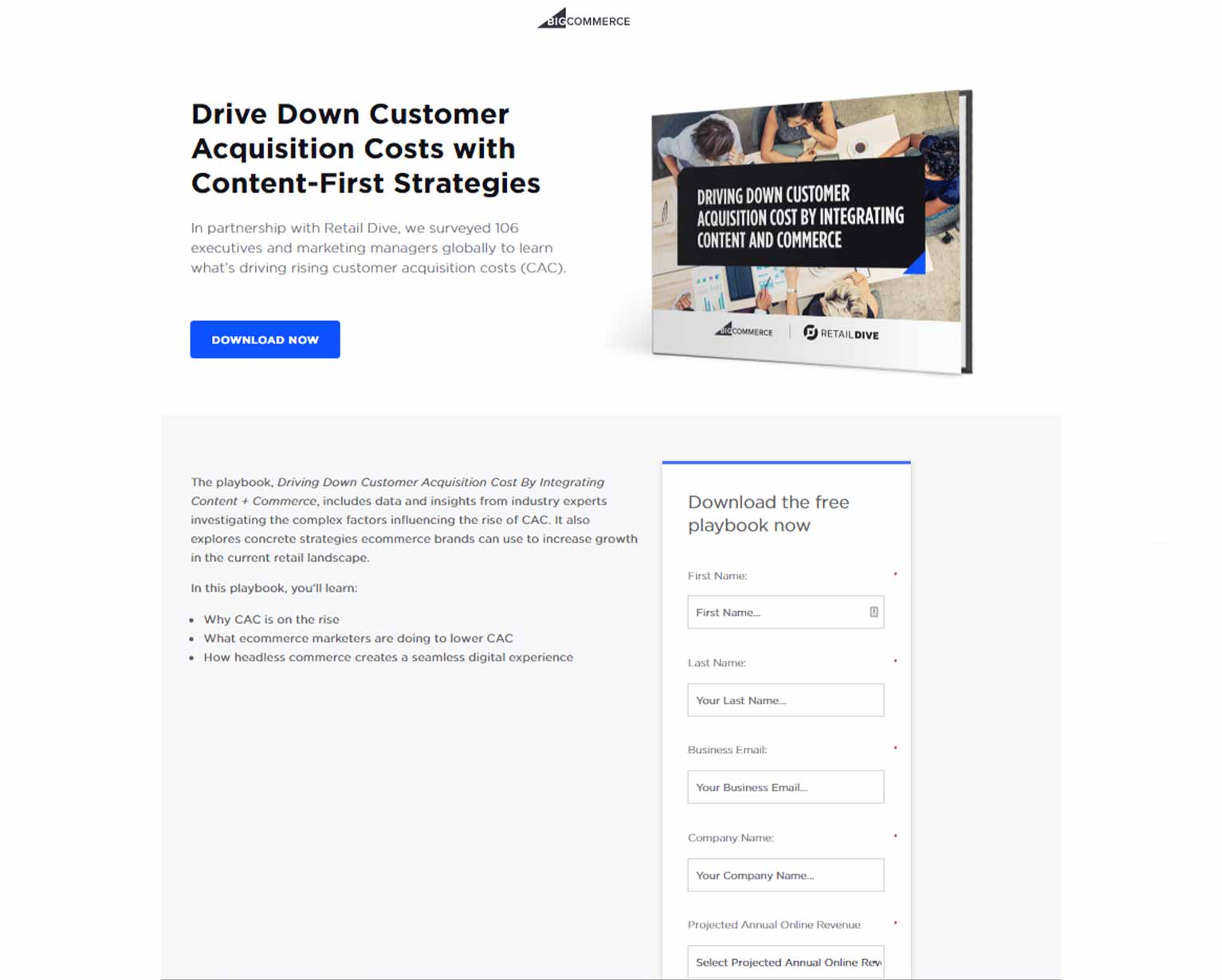 """A LinkedIn ad lead form page to download a white paper entitled """"Drive Down Customer Acquisition Costs with Content-First Strategies"""""""