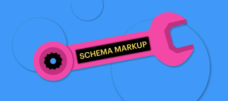 "This is an image of a wrench labeled ""Schema Markup."""