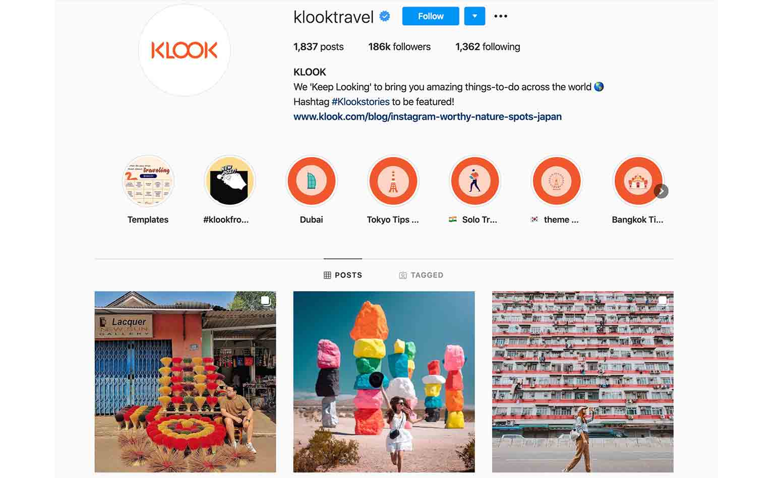 Klook amasses user-generated content through consumers on Instagram.