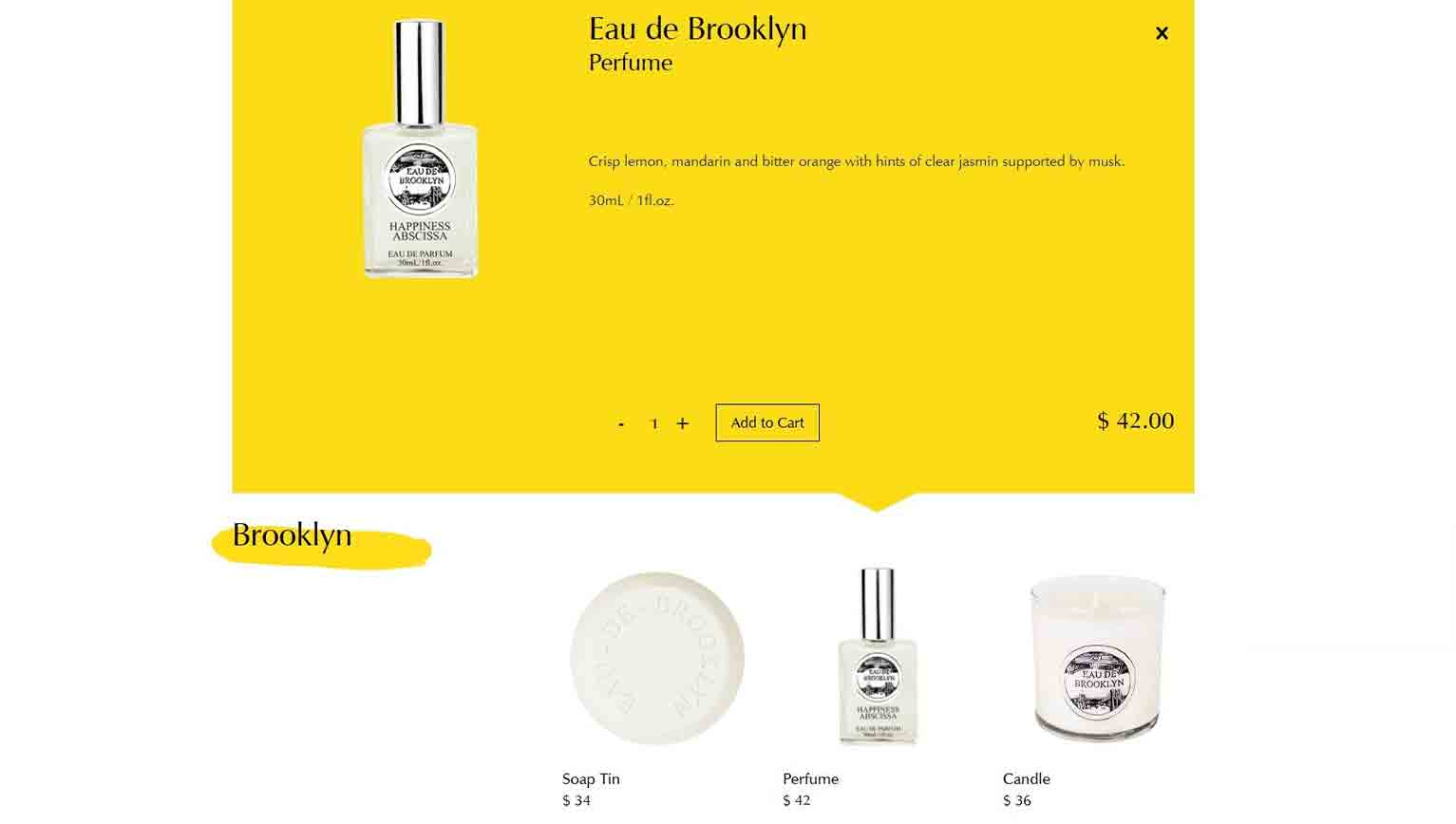 Lifestyle brand Happiness Abscissa lets customers click an item and view the product description on the same page.