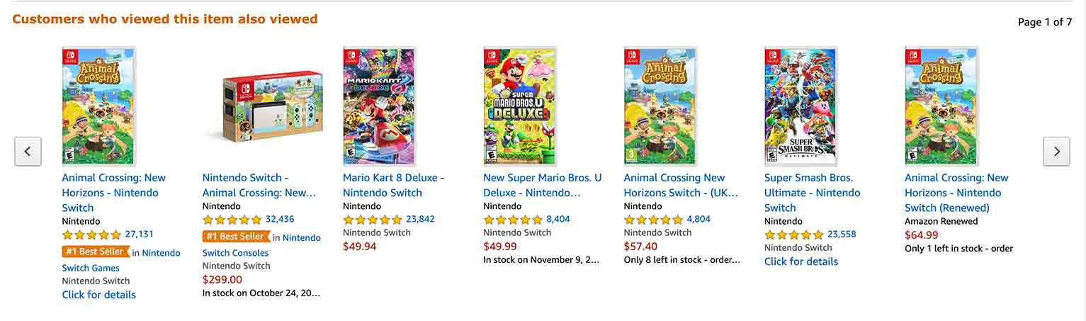 Take a look at the product listing for the videogame Animal Crossing on Amazon.com.