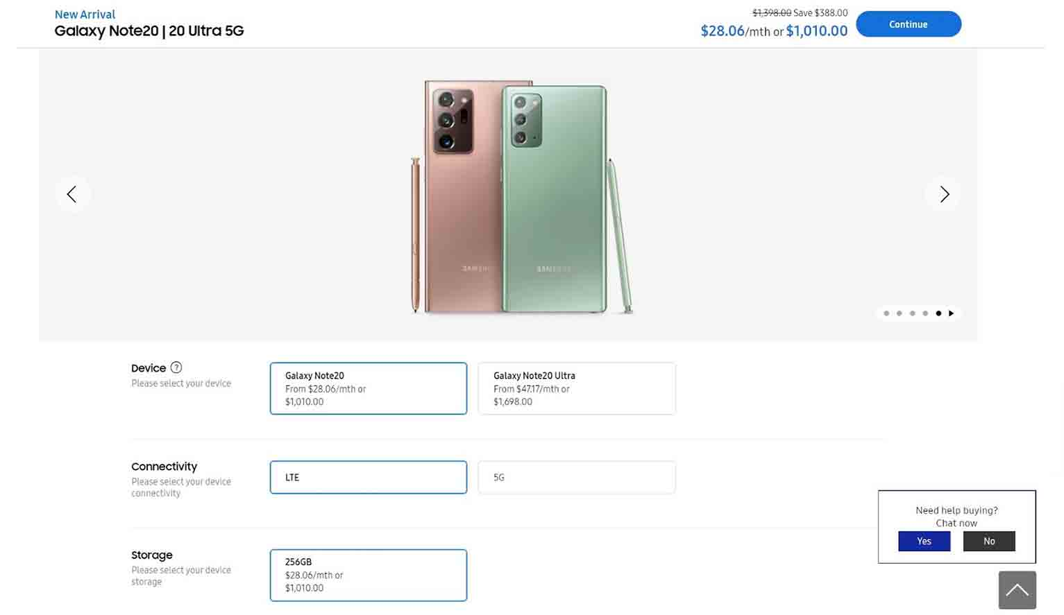 The Samsung Galaxy Note 20 product page lets consumers pick from various colors, models, connectivity and storage options.