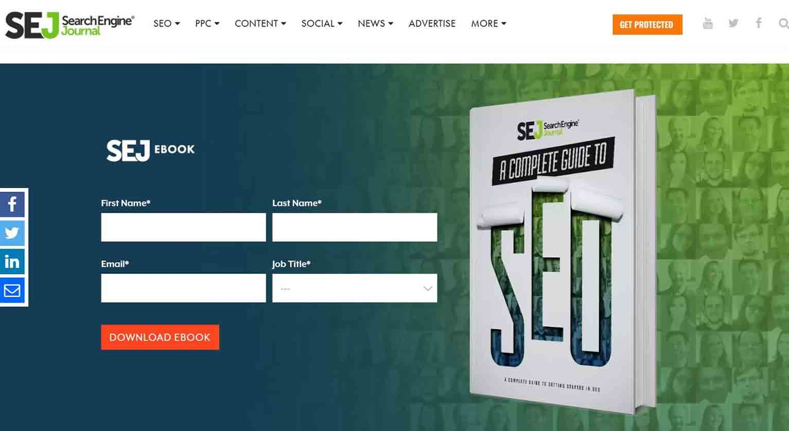 """Search Engine Journal's book """"A Complete Guide To SEO"""" requires readers to provide their name, email, and job title to download the content."""