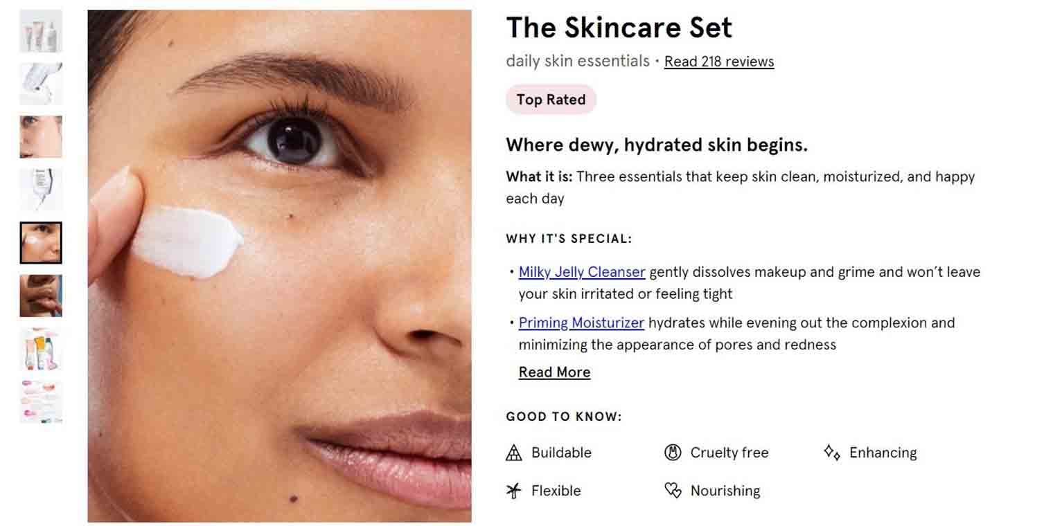 To promote diversity and inclusiveness, some pictures on the Glossier site feature the product being applied to models with different skin colors.
