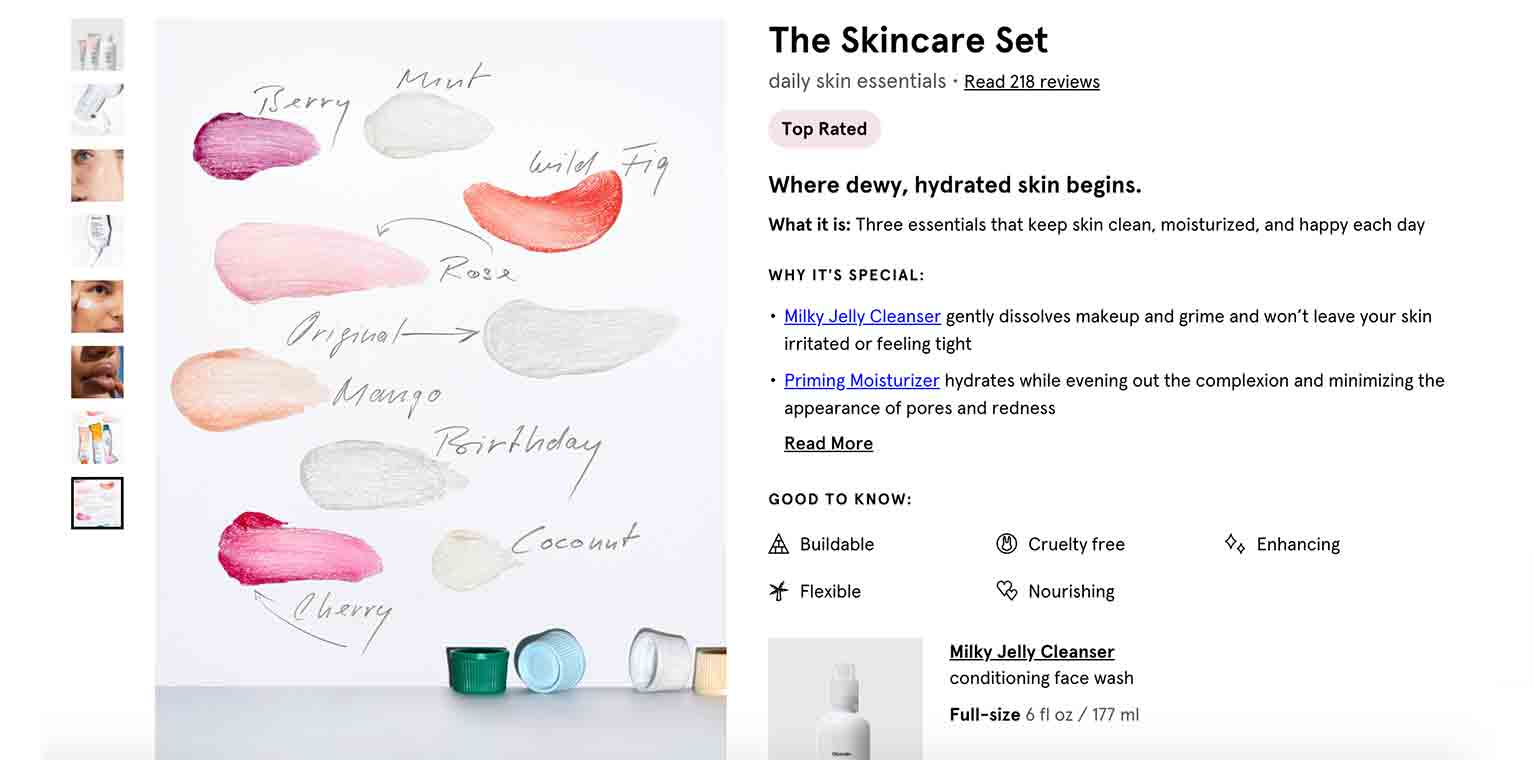 Choosing colors and shades of beauty items can be challenging. Glossier eases this process by placing the names and samples of each shade on a blank sheet of paper.