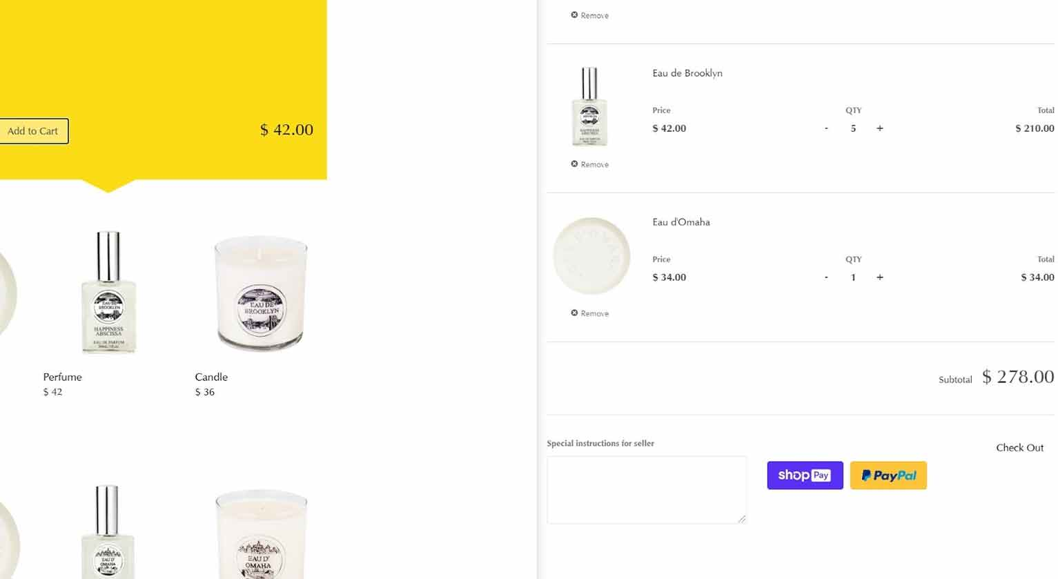 """Upon clicking the """"Add to Cart"""" button, consumers of Happiness Abscissa can complete checkout through the right panel and pay through Paypal or Shop Pay."""