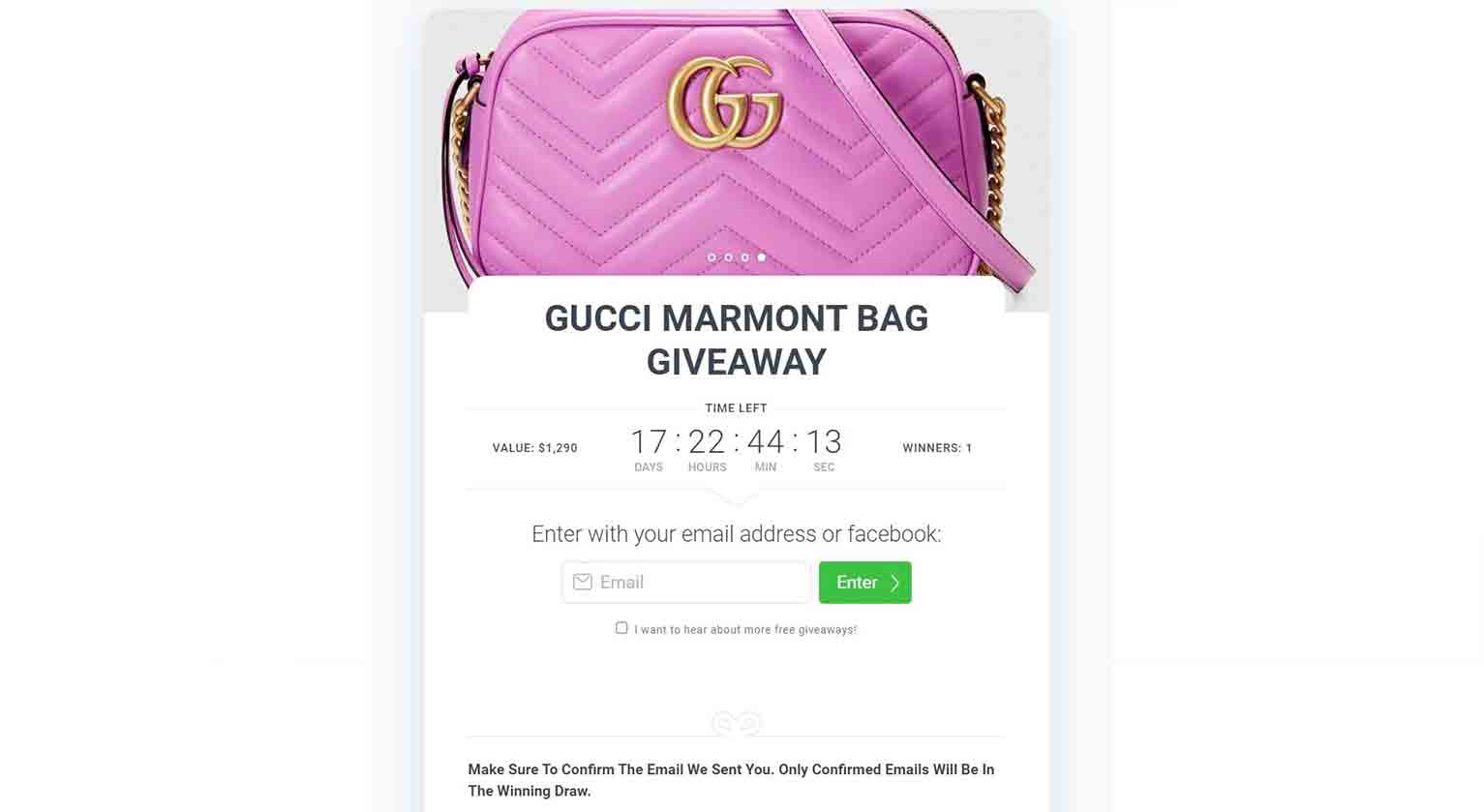 Jewelry retailer Viva Cali hosted a limited-time giveaway for the Gucci Marmont Bag.