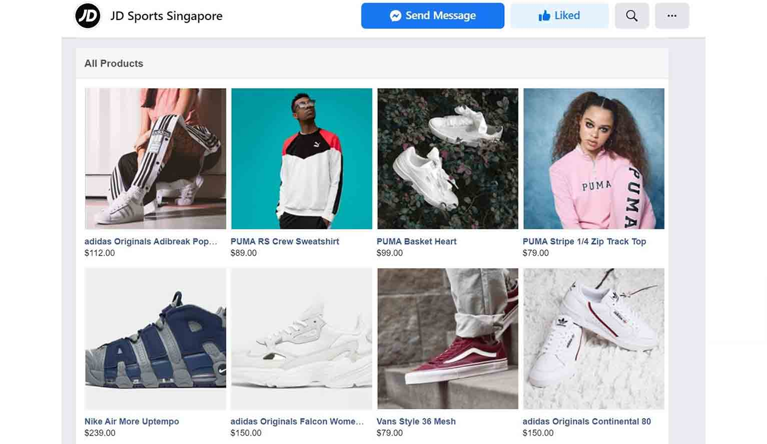This is the shop page of JD Sports Singapore.
