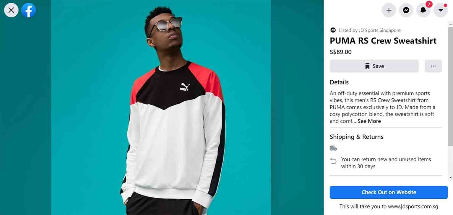 Upon clicking a product, customers of JD Sports Singapore can view the product description and shipping details as well as click the CTA to check out the retailer's website.