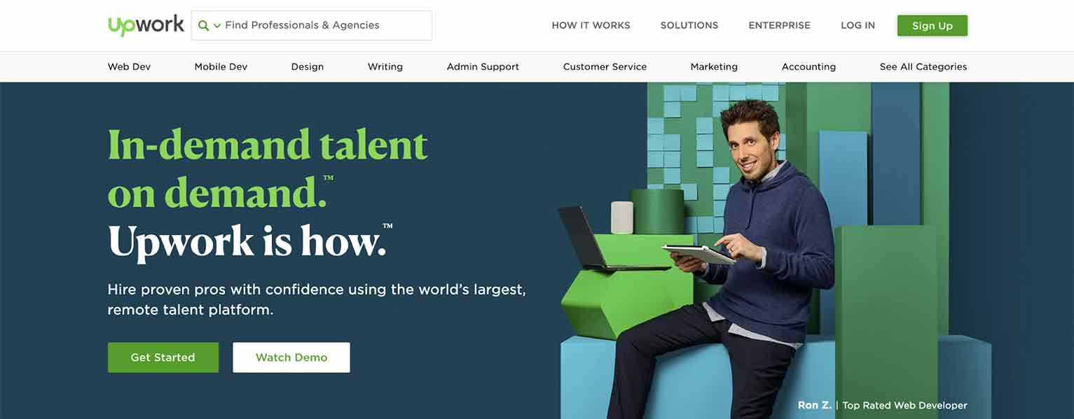 Website Redesign Example: Upwork No. 2