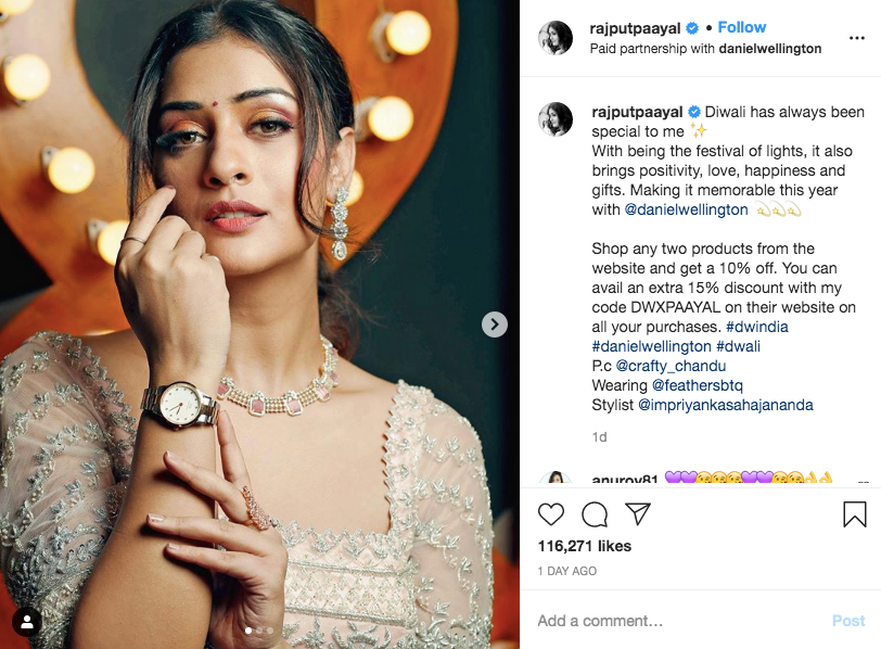 Digital Marketing Funnel Example: Actress and social media influencer Payal Rajput