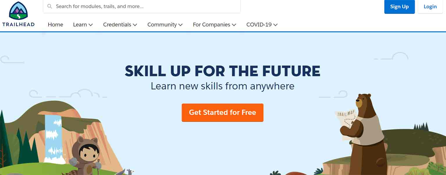 "Trailhead's ad leads to the following landing page that urges visitors to ""skill up"" for their career."