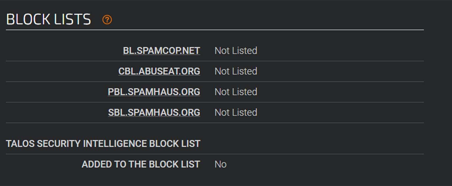 "The Talos reputation lookup tool generates a ""Block Lists"" report."