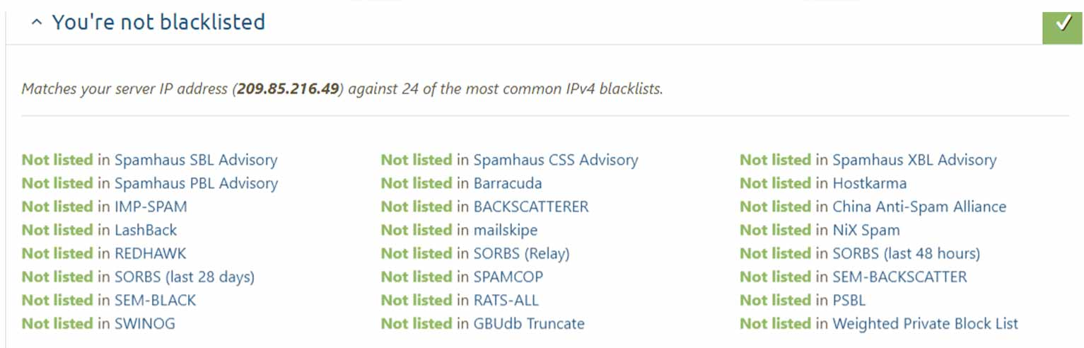 The mail-tester tool will show you whether you've been blacklisted along with a detailed list of all the leading advisories and blocklists.