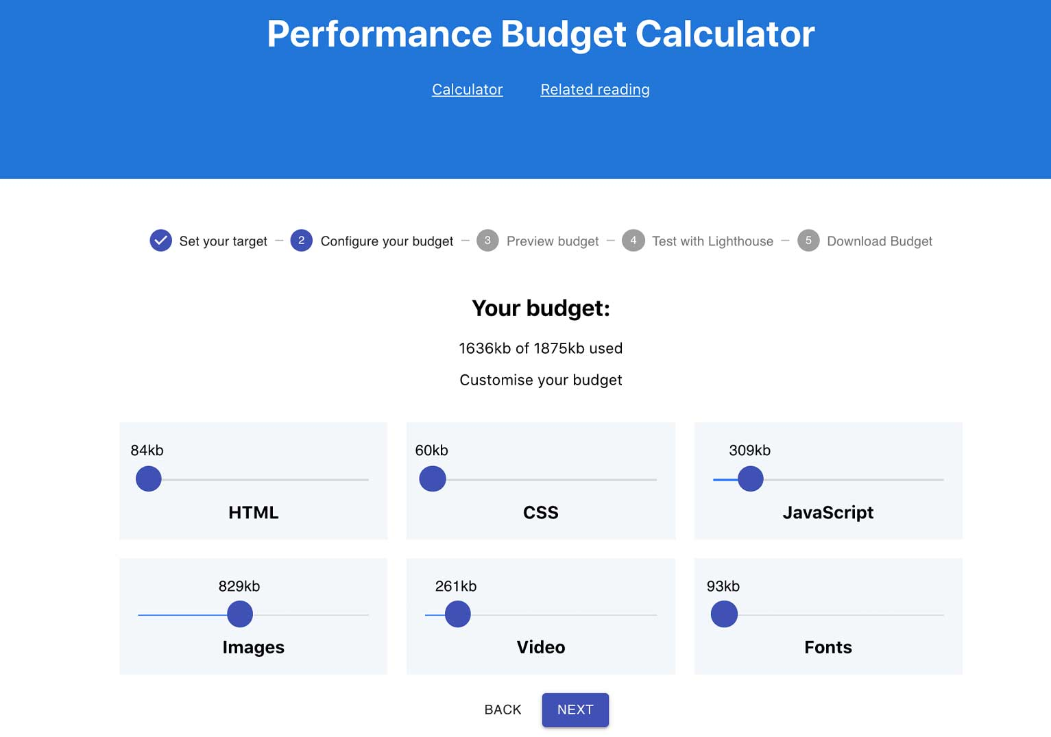 Performance Budget Calculator can help you balance the content on your website based on a targeted load speed so it can run optimally.
