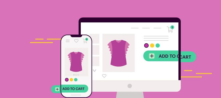A smartphone and a computer screen display a women's shirt on an online shopping cart page.
