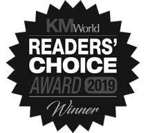 An award graphic of KM World Readers' choice award 2019 winner.