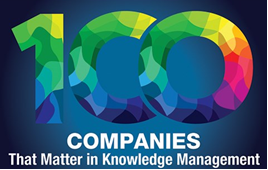 An award graphic for 100 companies that matter in knowledge management.