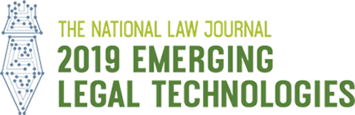 An award graphic for the National Law Journal 2019 Emerging Legal Technologies.