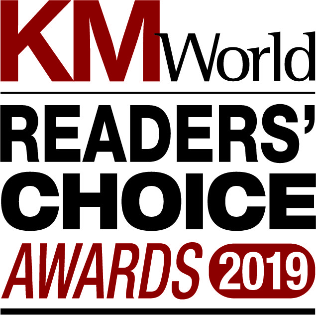 An award graphic for KM World Readers' choice awards 2019.