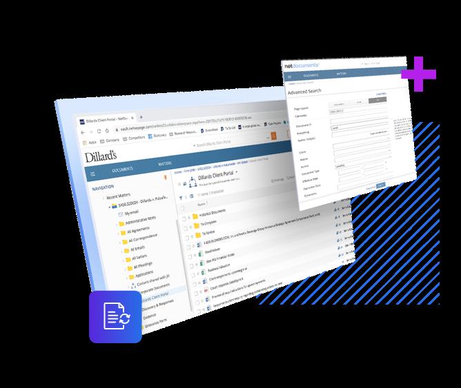 Captura de tela do sistema de gerenciamento de documentos NetDocuments