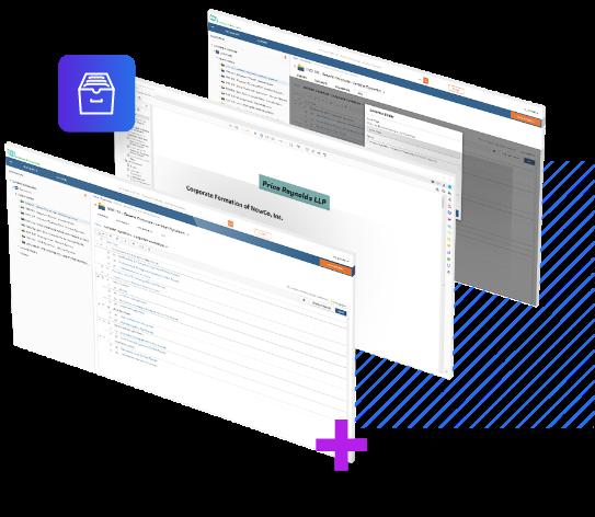 Gráfico de captura de tela do sistema de gerenciamento de documentos NetDocuments.