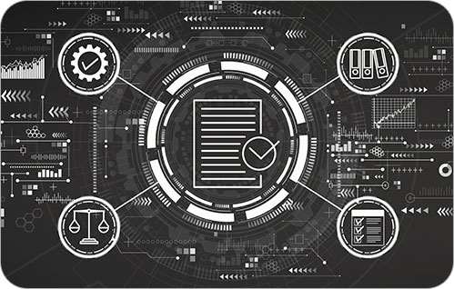 Graphic of a futuristic screen with four icons related to technology surrounding a central document icon.