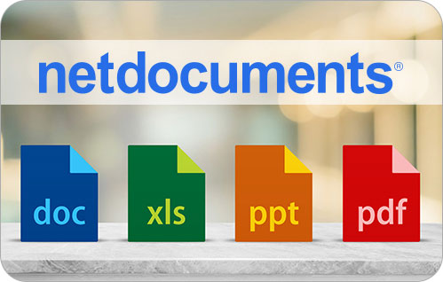 NetDocuments logo sits above four file icons with the words: doc, xls, ppt, and pdf file extensions listed on each icon.