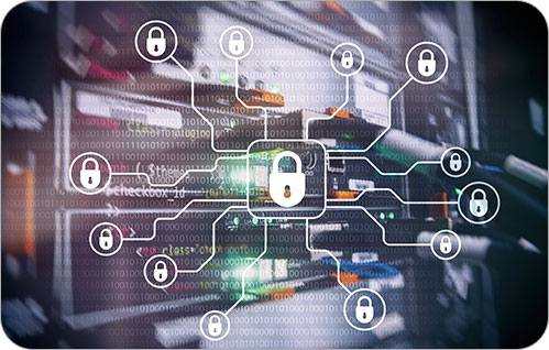 Graphic with multiple padlock icons surrounding and connected to a central padlock icon in the center of the image.