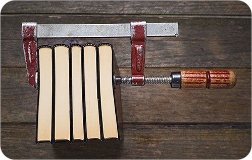 Woodworking clamp compresses five hardcover books.