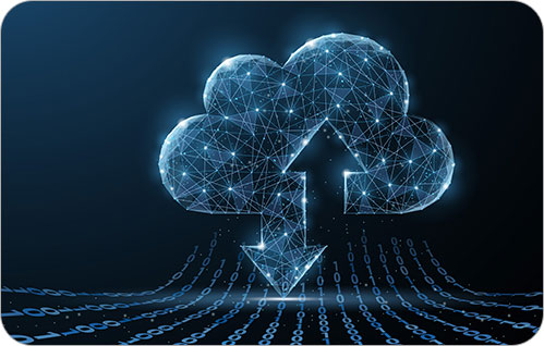 Graphic of a geometrically designed cloud with a down and up arrows with zeros and ones streaming from the cloud to indicate upload and download data.