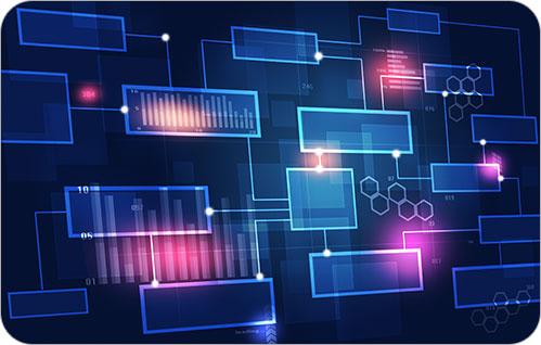 Um gráfico de caixas com bordas gradientes que se conectam umas às outras.