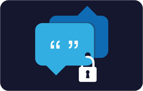 A graphic with two chat bubbles padlocked together.