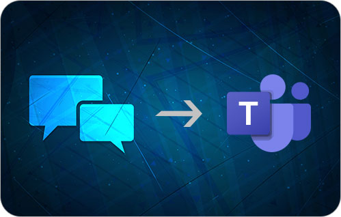 A graphic with two chat bubbles on the left and a right arrow pointing to the Microsoft Teams logo.