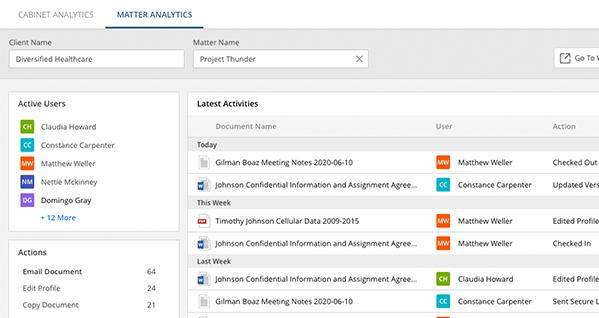Screenshot of matter analytics software by NetDocuments.