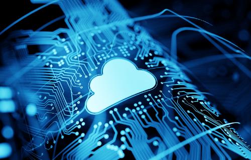 Um gráfico de um ícone de nuvem na placa-mãe de um computador.