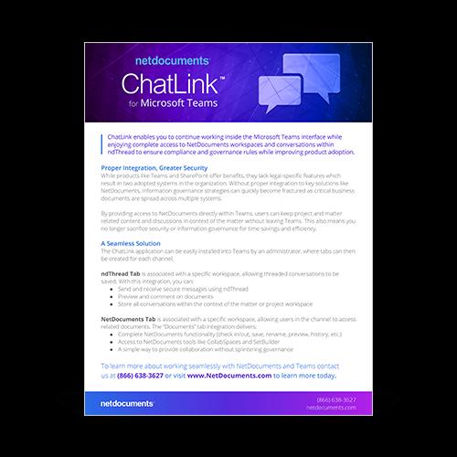 Gráfico com dois ícones de bolha de bate-papo e as palavras NetDocuments Chatlink.