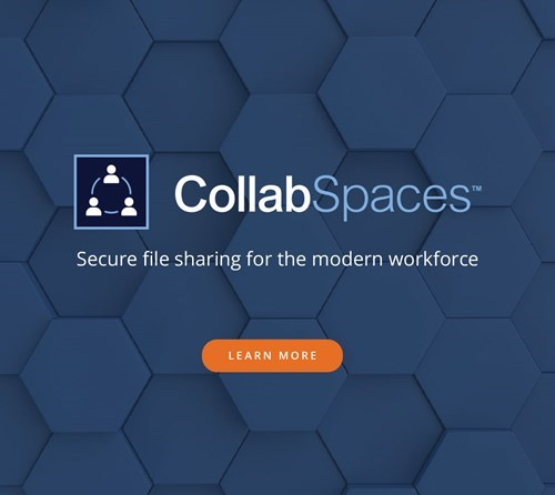 Ad graphic for NetDocuments CollabSpaces.