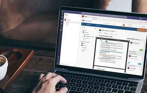 Captura de tela de um laptop com serviço NetDocuments Chatlink.
