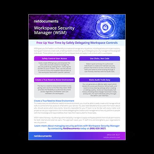 Ícone de cadeado seguro com NetDocuments WSM