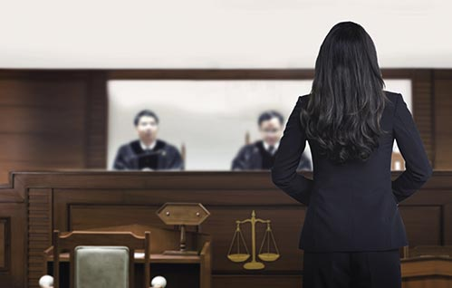 picture of a woman in a suit with back to camera in a courtroom facing judges.