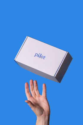 A Pilot treatment box thrown up in the air with one hand