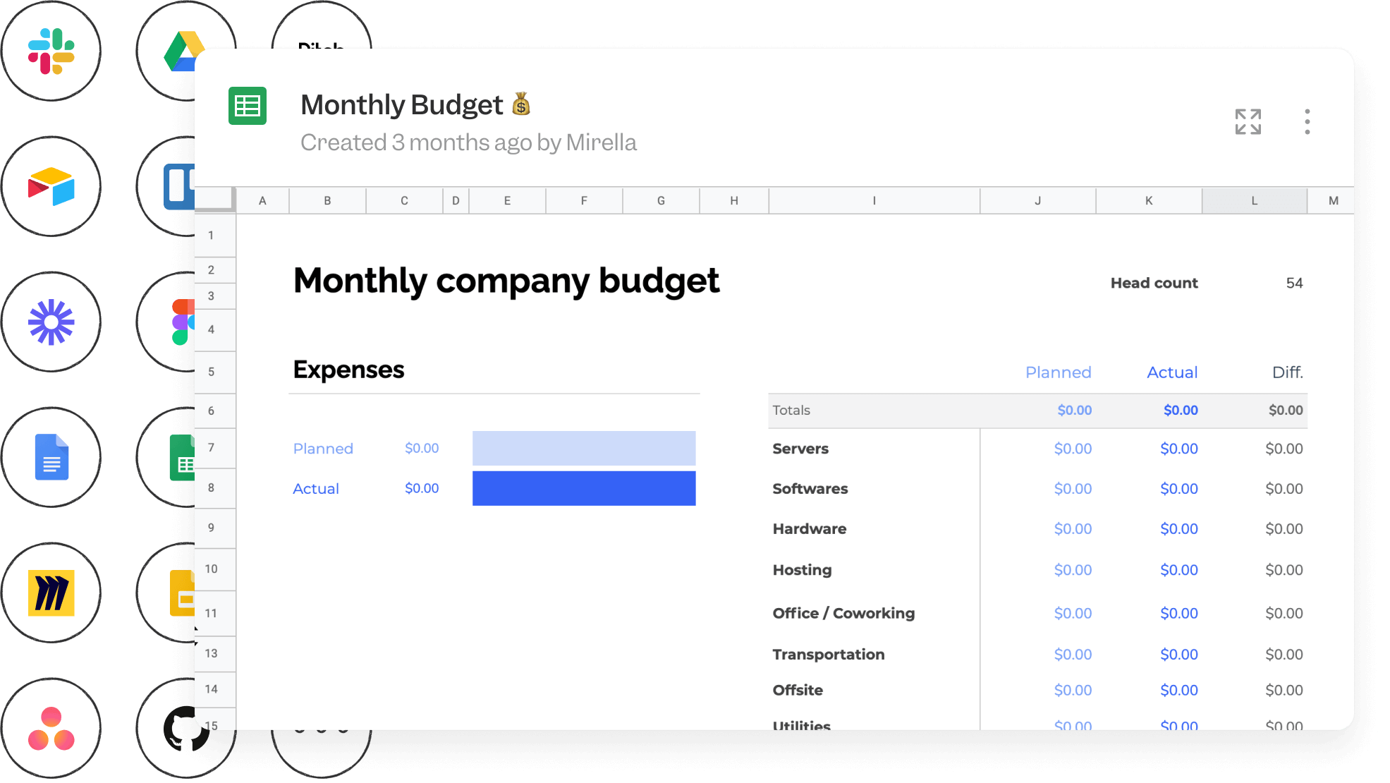 Monthly Budget spreadsheet against a backdrop of icons from tools that integrate with Slite including Slack, Google Drive, Airtable, Loom, Asana Github, Miro