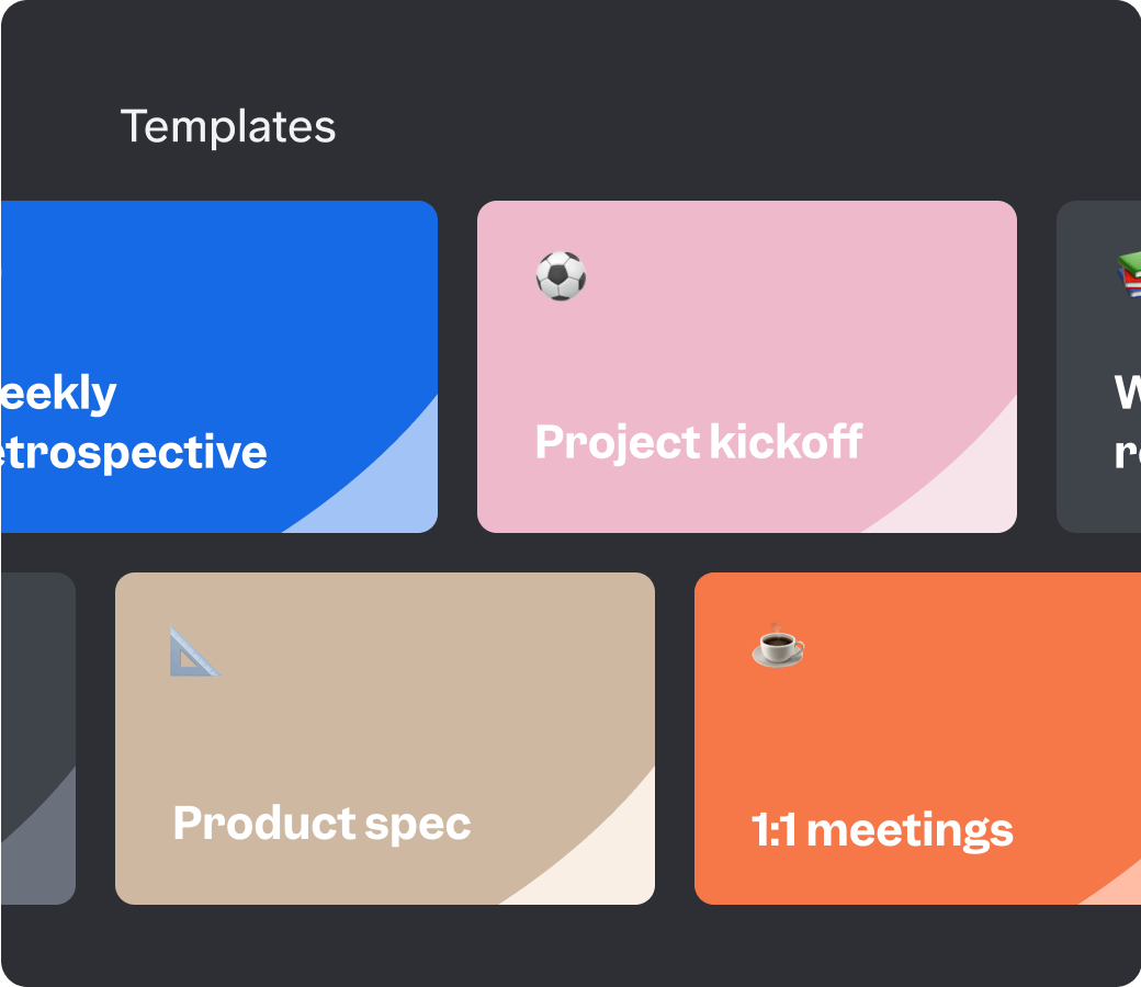 Slite templates for knowledge base include project kickoff, product specs, and 1:1 meetings