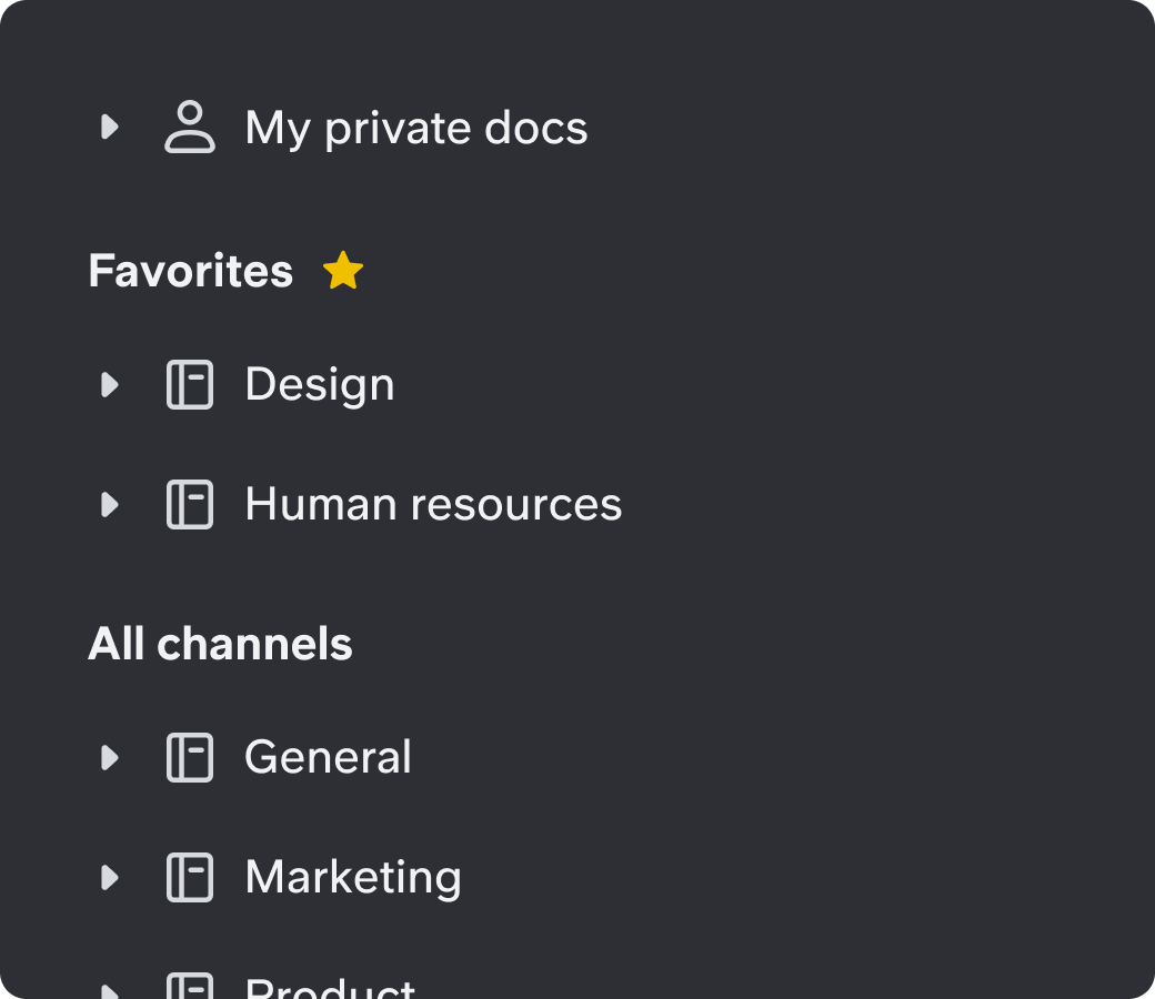 Knowledge base panel showing My private docs, Favorites, and All channels