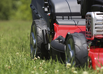Red lawnmower on grass